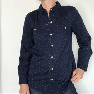 Old Navy Polka Dot Navy Button Up